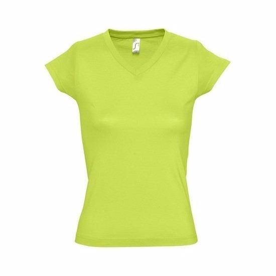 Dames t-shirts korte mouw limegroen