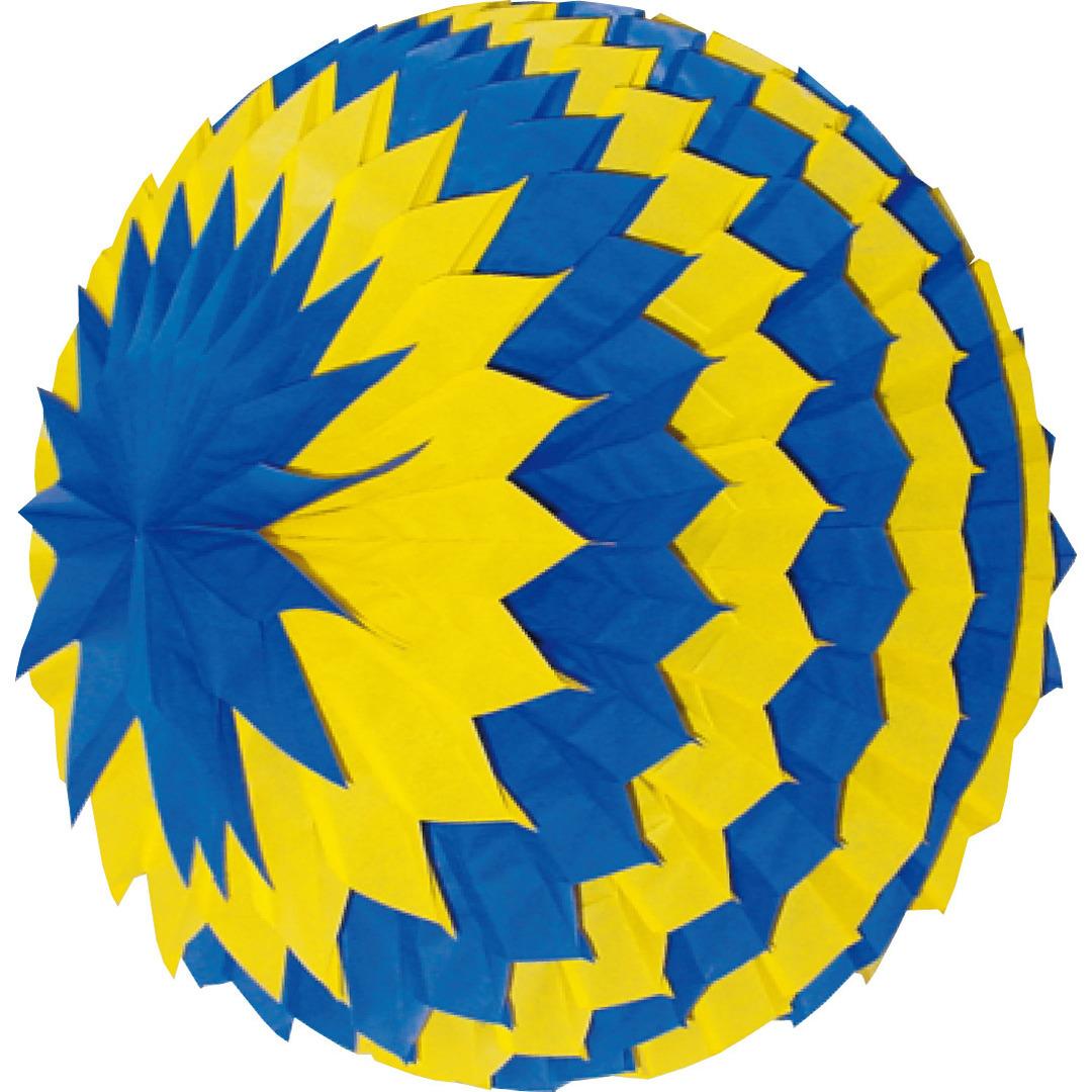 Decoratie bol blauw-geel