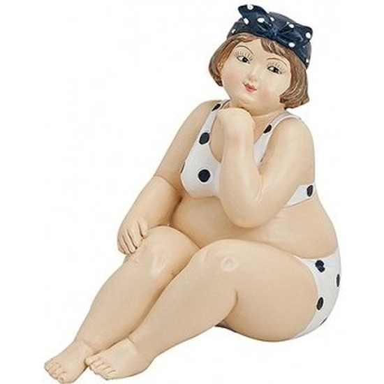 Decoratie dikke dames beeldjes 12 cm witte bikini