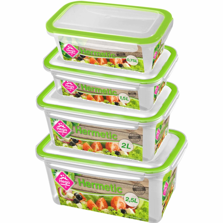 Diepvries-koelkast voedsel bewaarbakjes set van 8x stuks diverse formaten