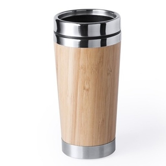 Duurzame koffiebeker voor onderweg bamboe-RVS 500 ml