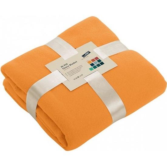 Fleece woondeken-woonplaid oranje 130 x 170 cm