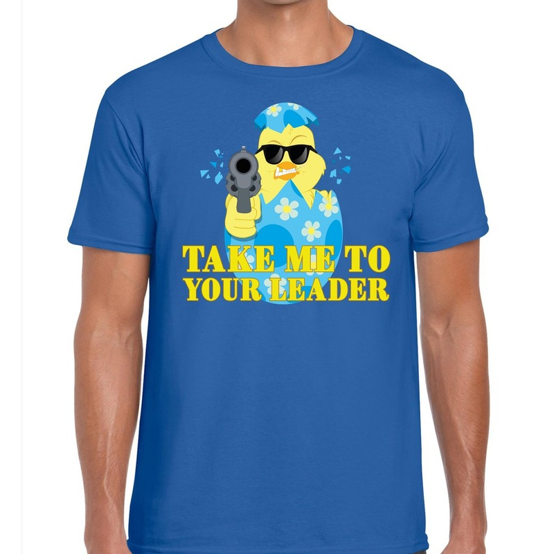 Fout Pasen shirt blauw take me to your leader voor heren