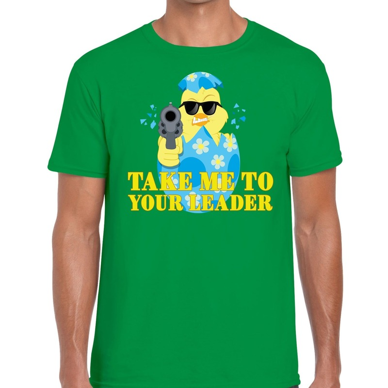 Fout Pasen shirt groen take me to your leader voor heren