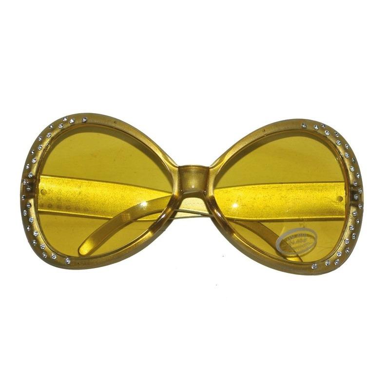 Gouden disco verkleed bril met diamantjes