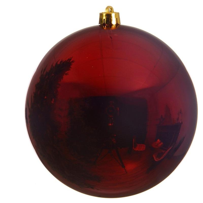 Grote raam-deur-kerstboom decoratie donker rode kerstballen 20 cm glans