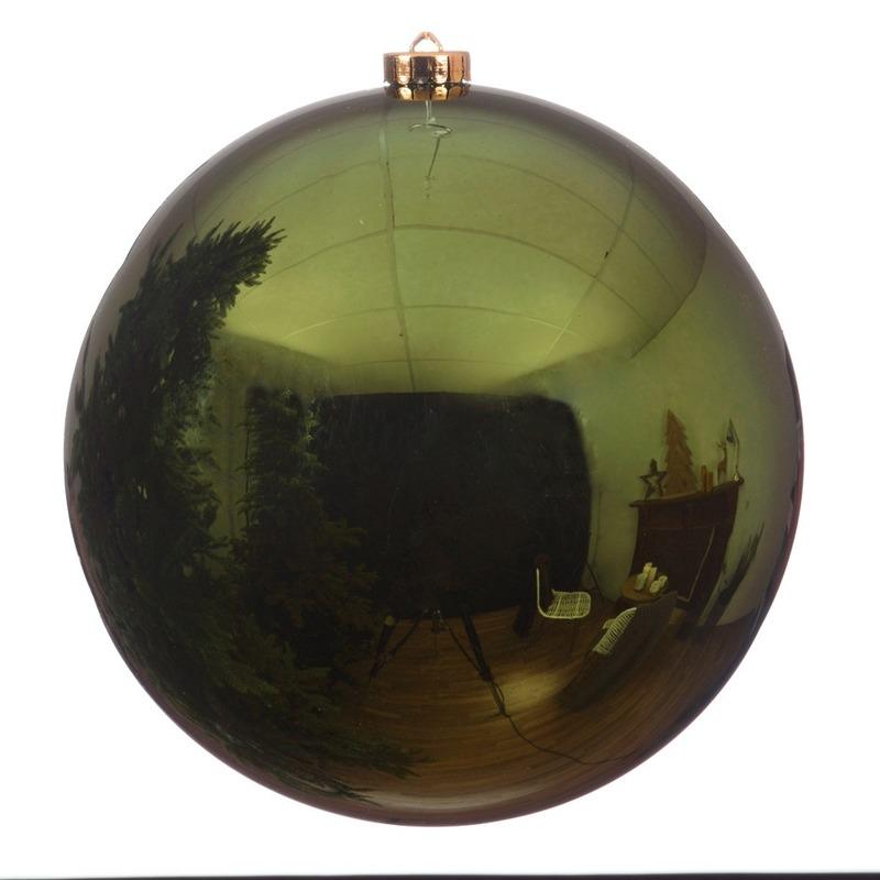 Grote raam-deur-kerstboom decoratie donkergroene kerstballen 20 cm glans