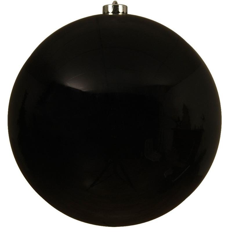 Grote raam-deur-kerstboom decoratie zwarte kerstballen 20 cm glans