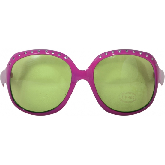 Grote roze brillen met steentjes