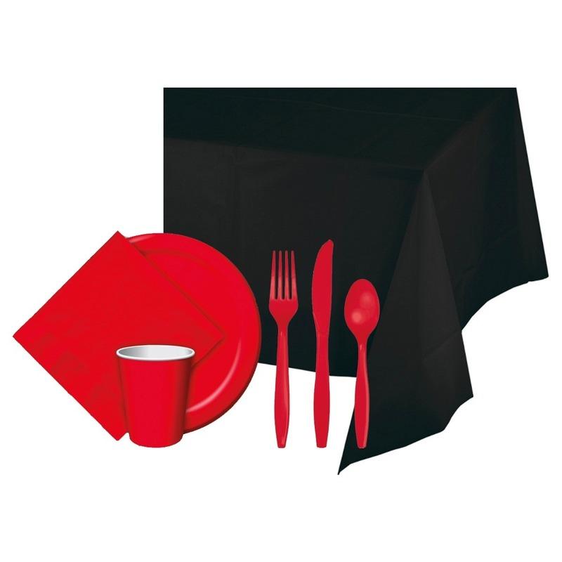 Halloween zwart-rood versiering pakket