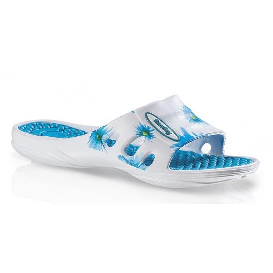 Hawaii slippers met blauwe bloemen