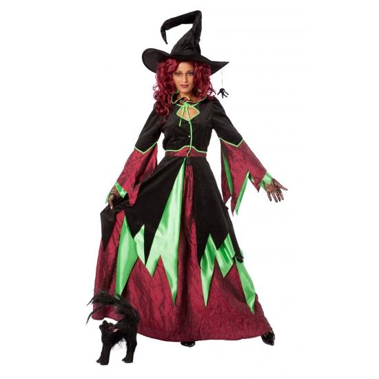 Heksen kostuums rood-groen dames