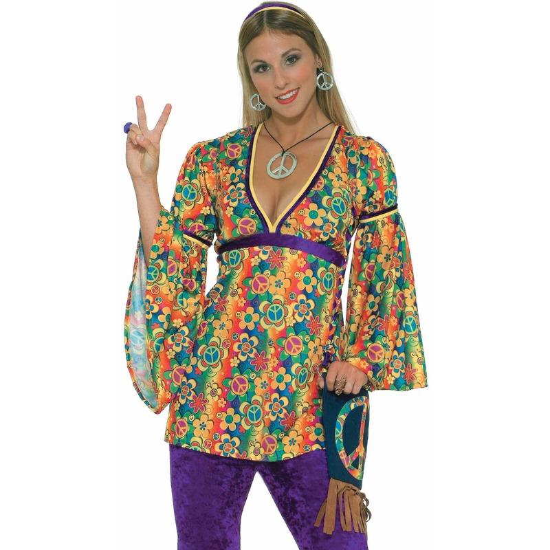 Hippie Peace ketting en oorbellen verkleed sieraden set
