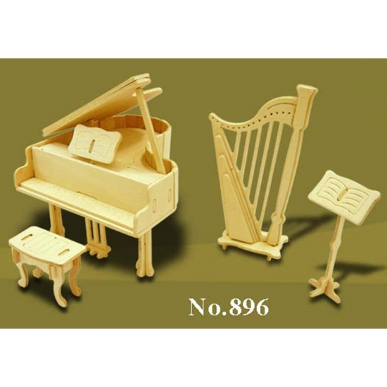 Houten bouwpakket poppenhuis muziekinstrumenten