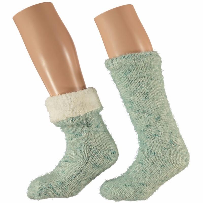Huis/bank dames sokken mint groen
