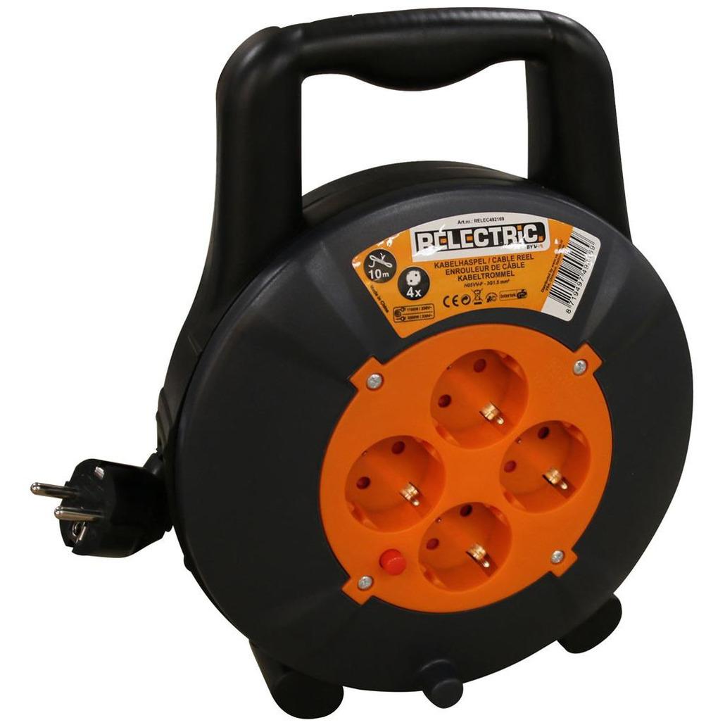 Kabelhaspel-kabelbox oranje-zwart 10 m met 4x geaarde stopcontacten en handvat