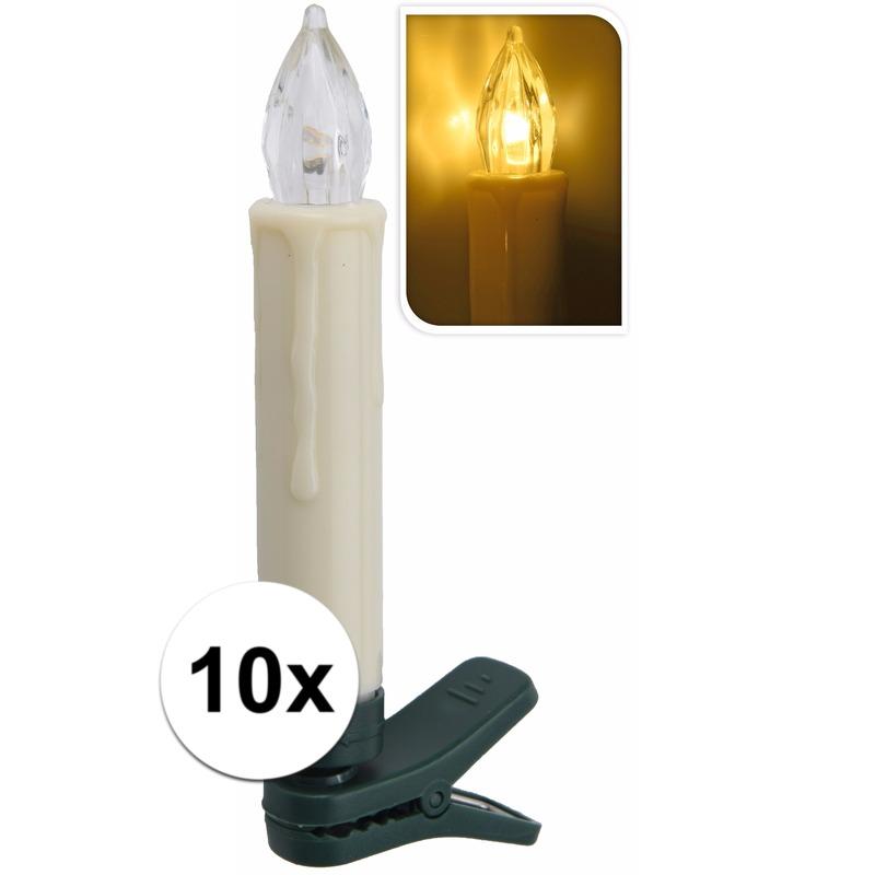 Kerst kaarsen lampjes warm 10 stuks binnen zonder snoer