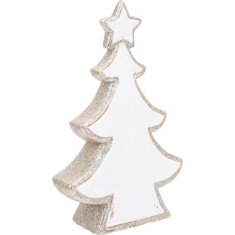 Kerst kunstkerstboom wit glitter beeldje 30 cm versiering-decoratie