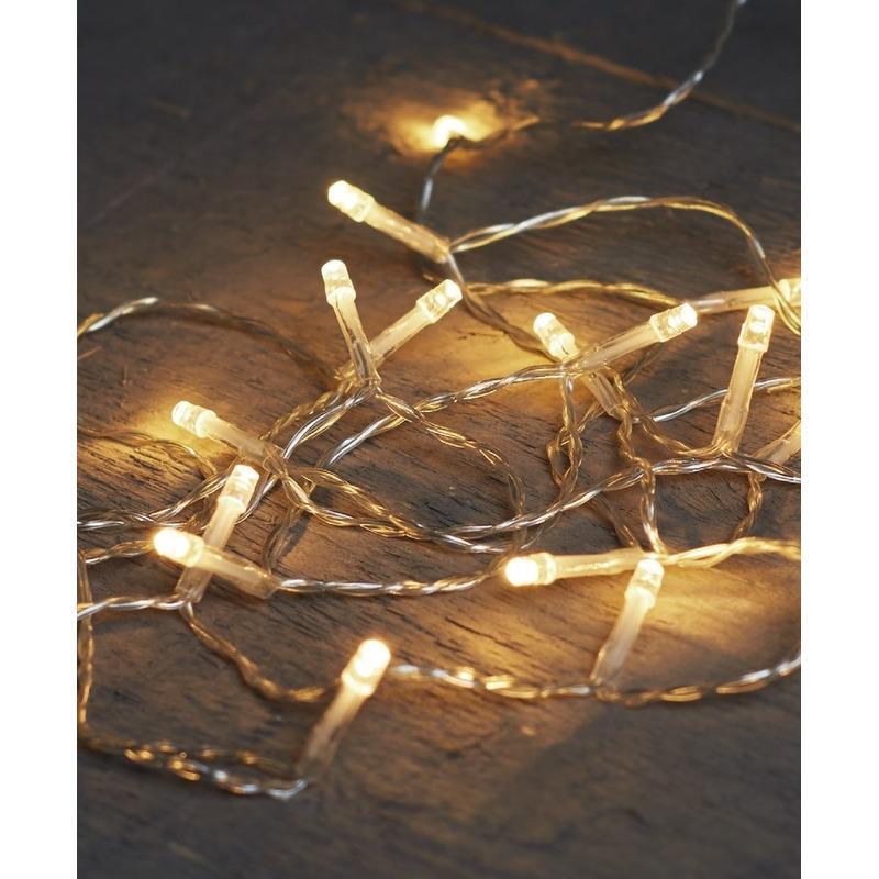 Kerst lampjes lichtjes warm wit op batterijen 1 meter