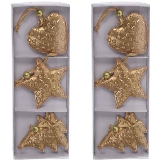 Kerstboom versiering goudkleurig hangers metaal 6 stuks