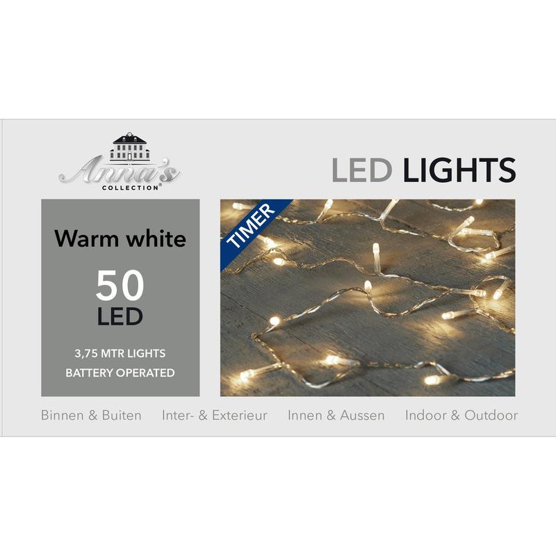 Kerstlampjes-kerstlichtjes lichtsnoeren op btterij 50 LEDS