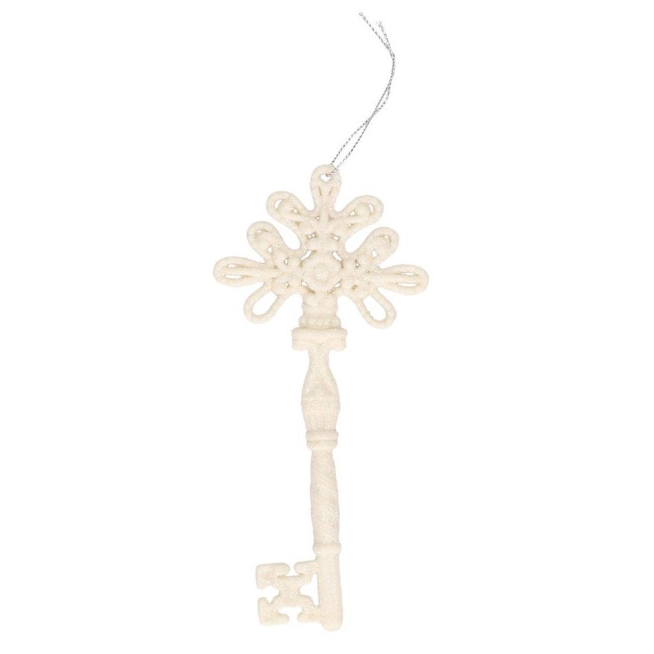 Kerstversiering decoratie hangers zilveren witte sleutels 17 cm
