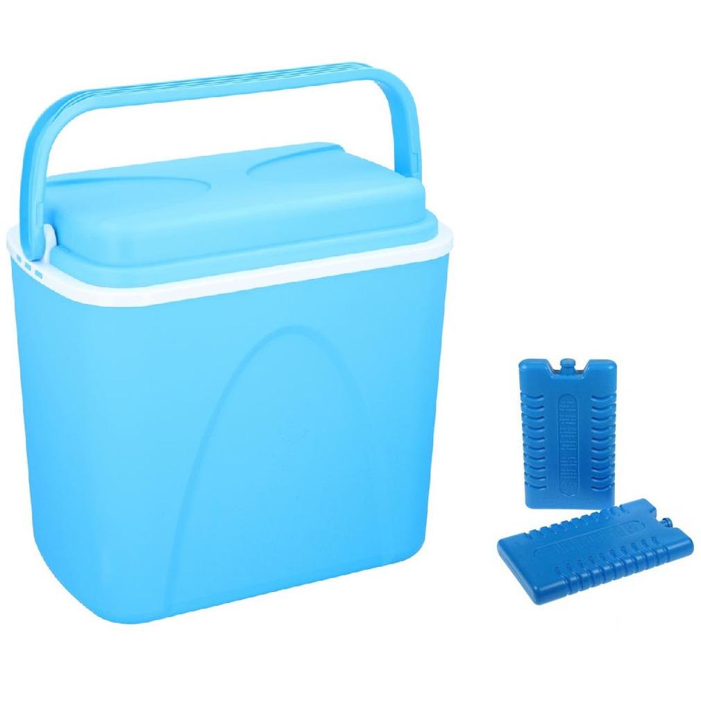 Koelbox blauw 24 liter 39 x 25 x 38 cm incl. 2 koelelementen