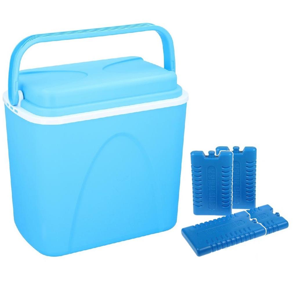 Koelbox blauw 24 liter 39 x 25 x 38 cm incl. 4 koelelementen