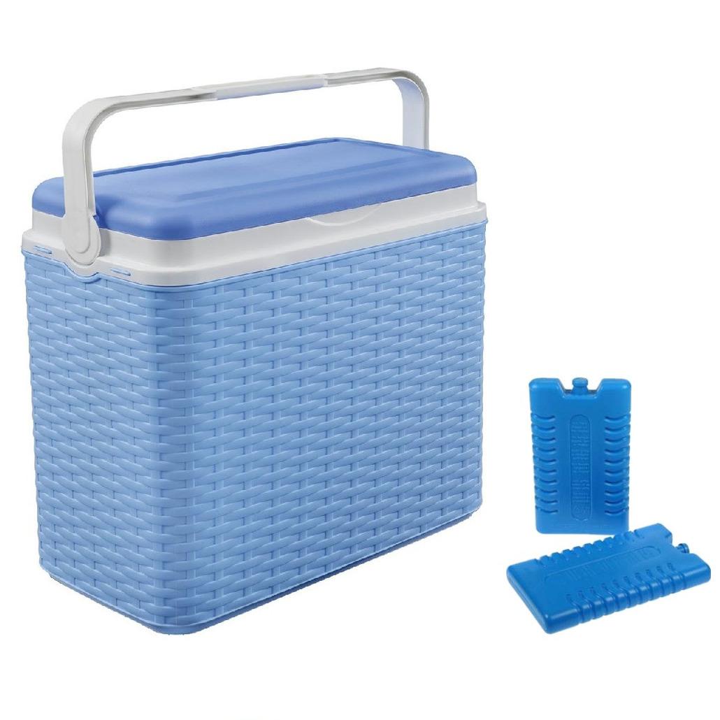 Koelbox blauw rotan 24 liter 40 x 24 x 38 cm incl. 2 koelelementen