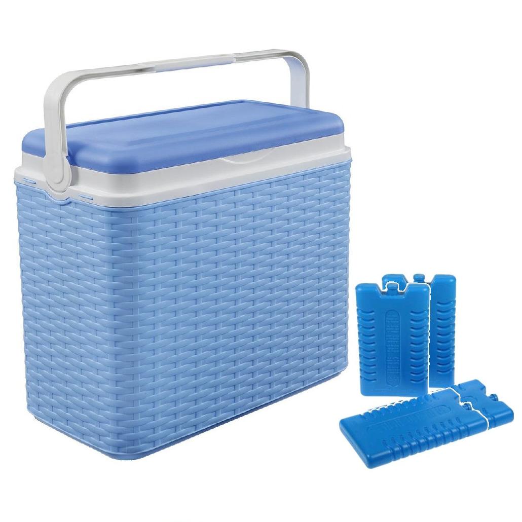 Koelbox blauw rotan 24 liter 40 x 24 x 38 cm incl. 4 koelelementen