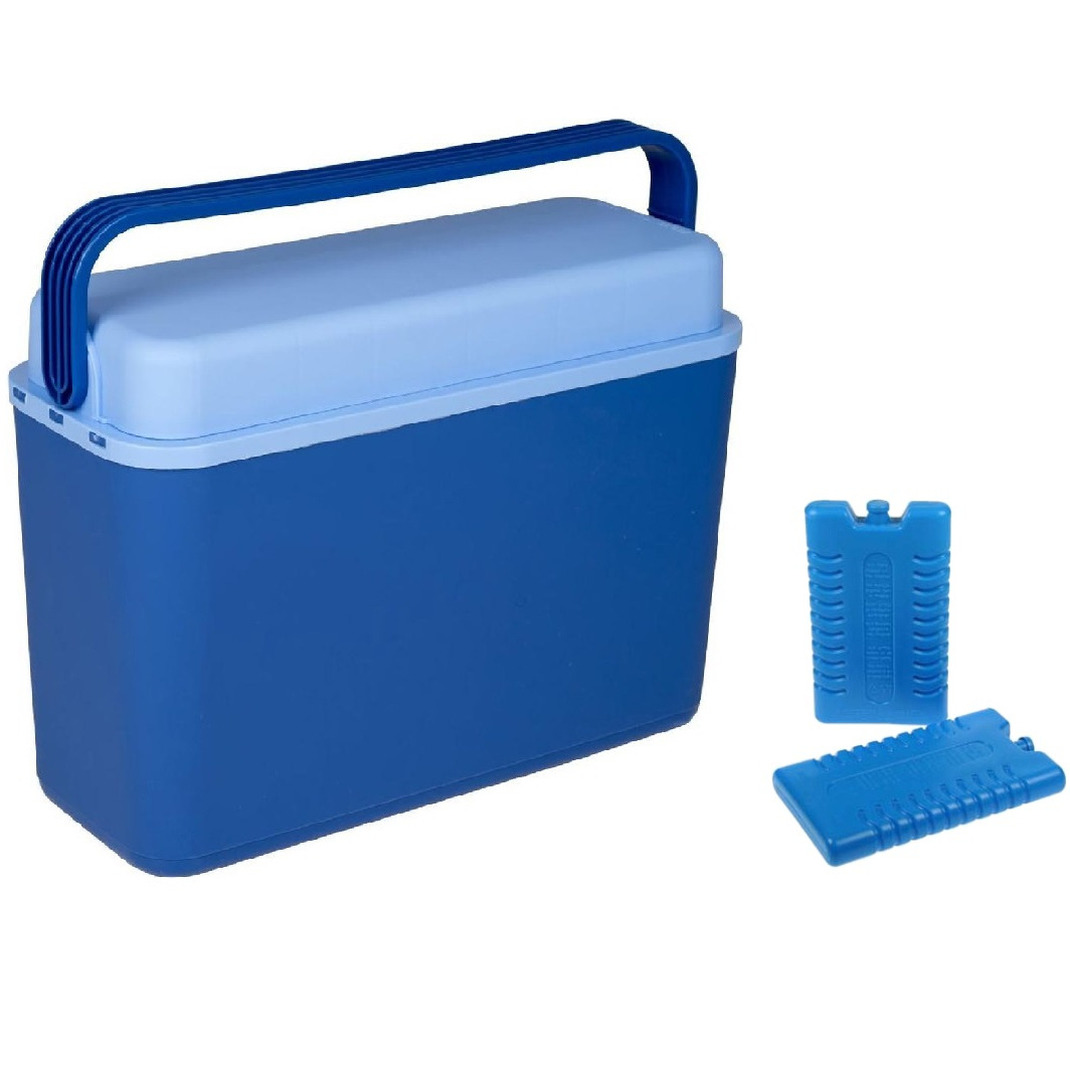 Koelbox donkerblauw 12 liter 40 x 17 x 29 cm incl. 2 koelelementen