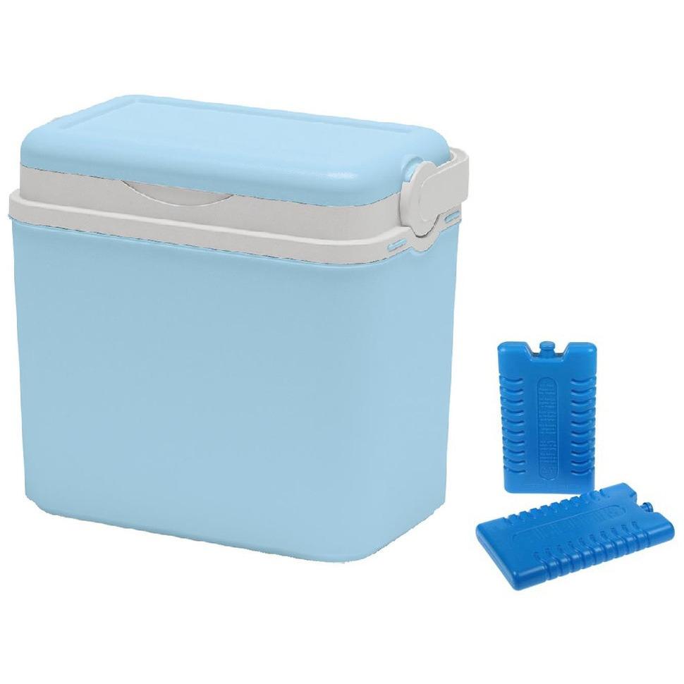 Koelbox lichtblauw 10 liter van 30 x 19 x 28 cm incl. 2 koelelementen