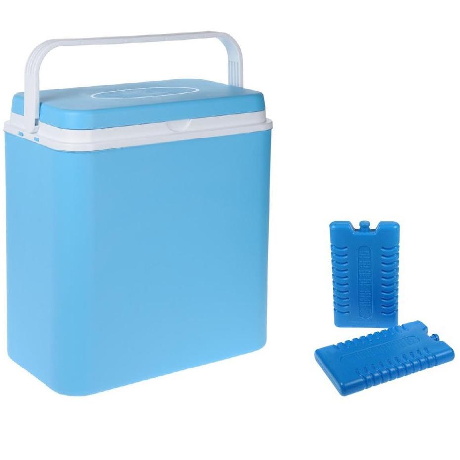 Koelbox lichtblauw 24 liter 39 x 25 x 38 cm incl. 2 koelelementen