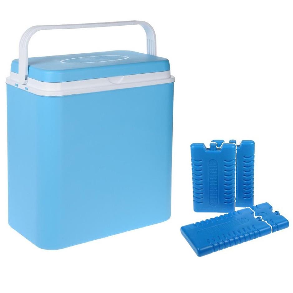 Koelbox lichtblauw 24 liter 39 x 25 x 38 cm incl. 4 koelelementen