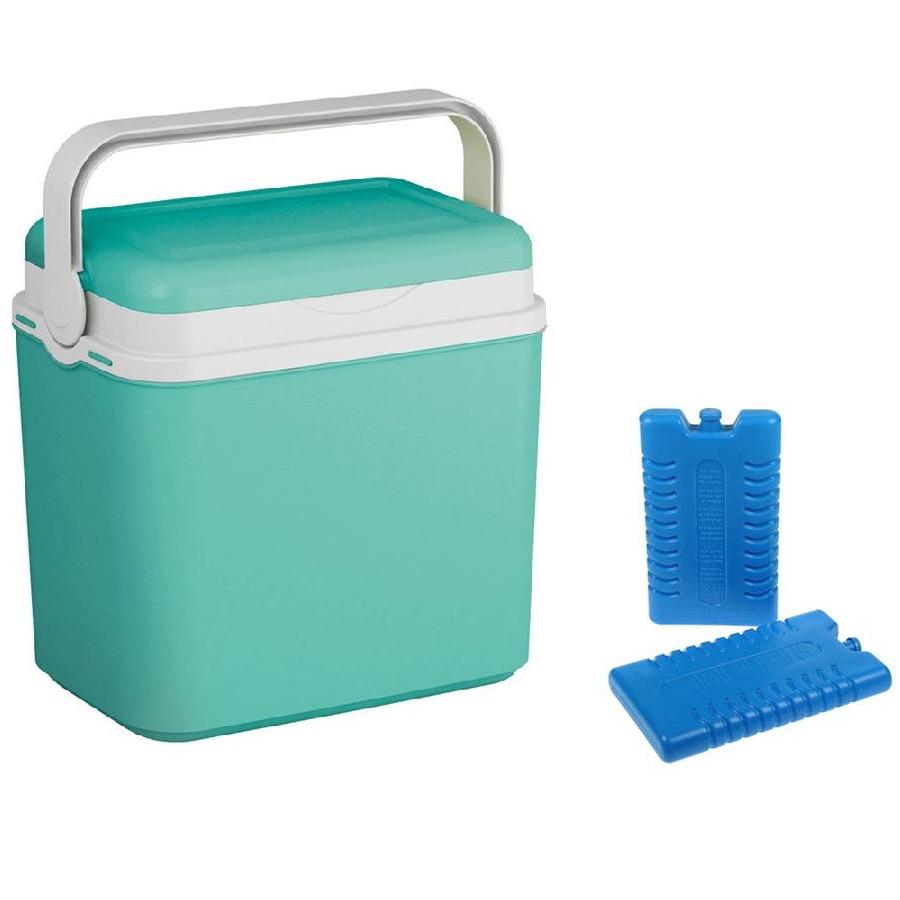 Koelbox turquoise groen 10 liter 30 x 19 x 28 cm incl. 2 koelelementen