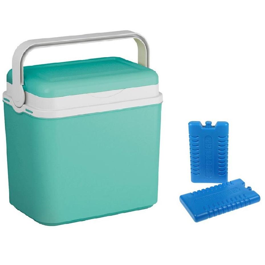 Koelbox turquoise groen 24 liter 39 x 24 x 40 cm incl. 2 koelelementen