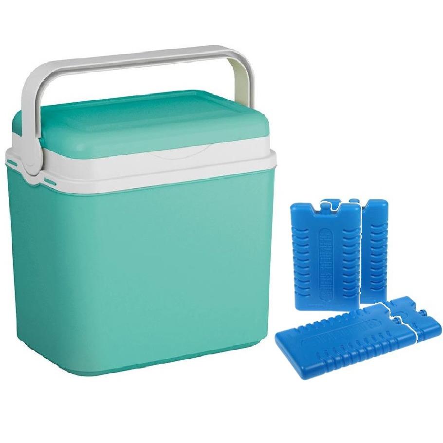 Koelbox turquoise groen 24 liter 39 x 24 x 40 cm incl. 4 koelelementen