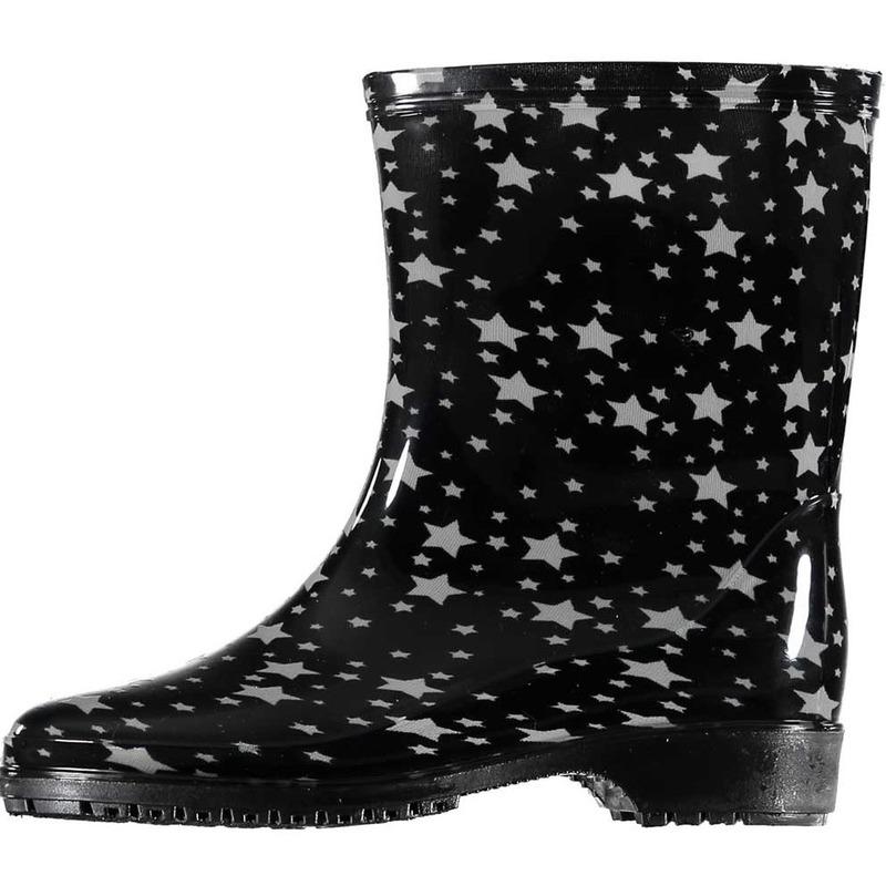 Korte regenlaarzen zwart met grijze sterren print voor dames