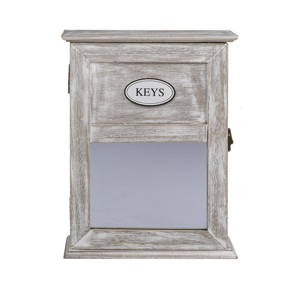 Locker sleutelkastje van hout met antiek-finish 20 x 26.5 cm
