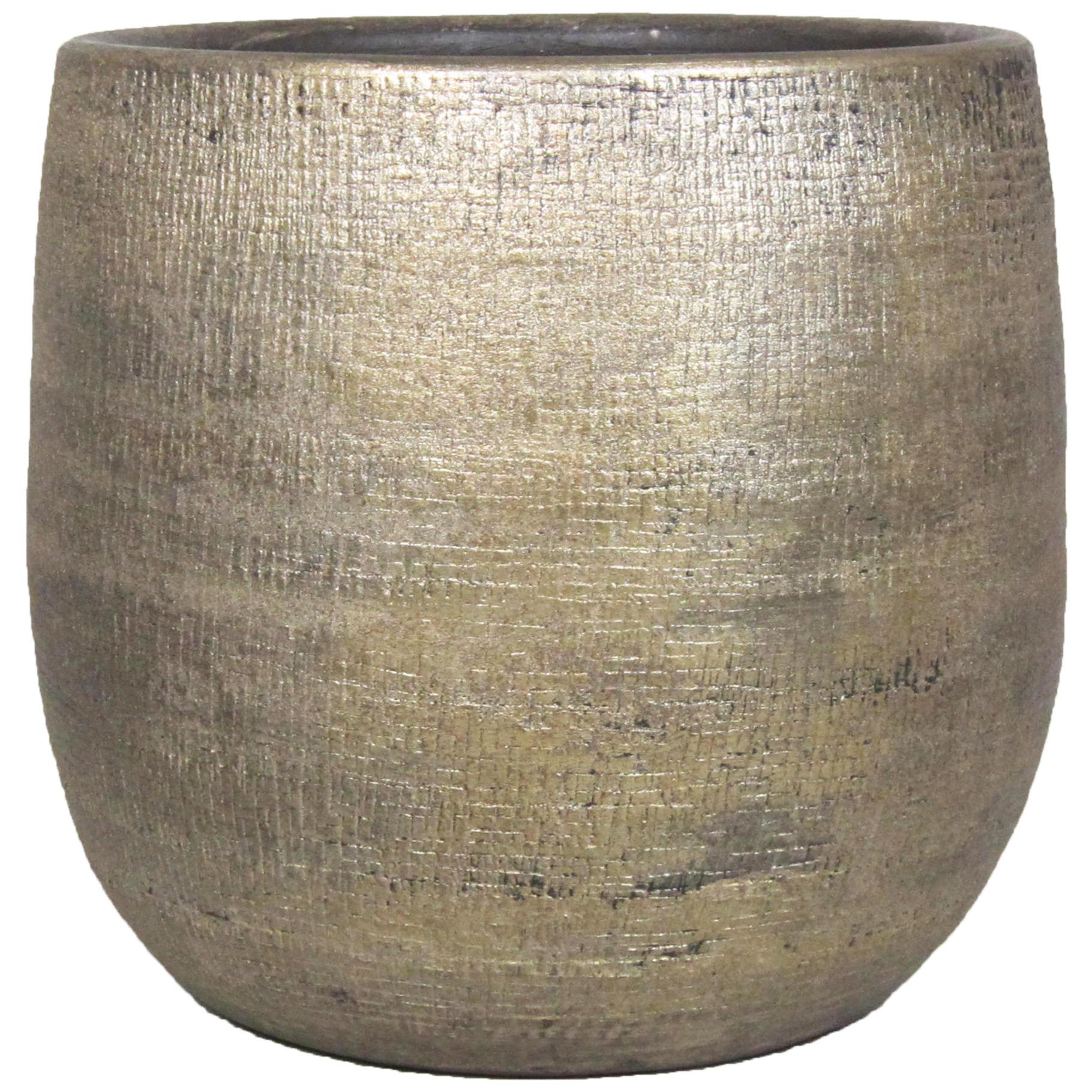 Luxe plantenpot-bloempot goud Mira van keramiek 34 cm