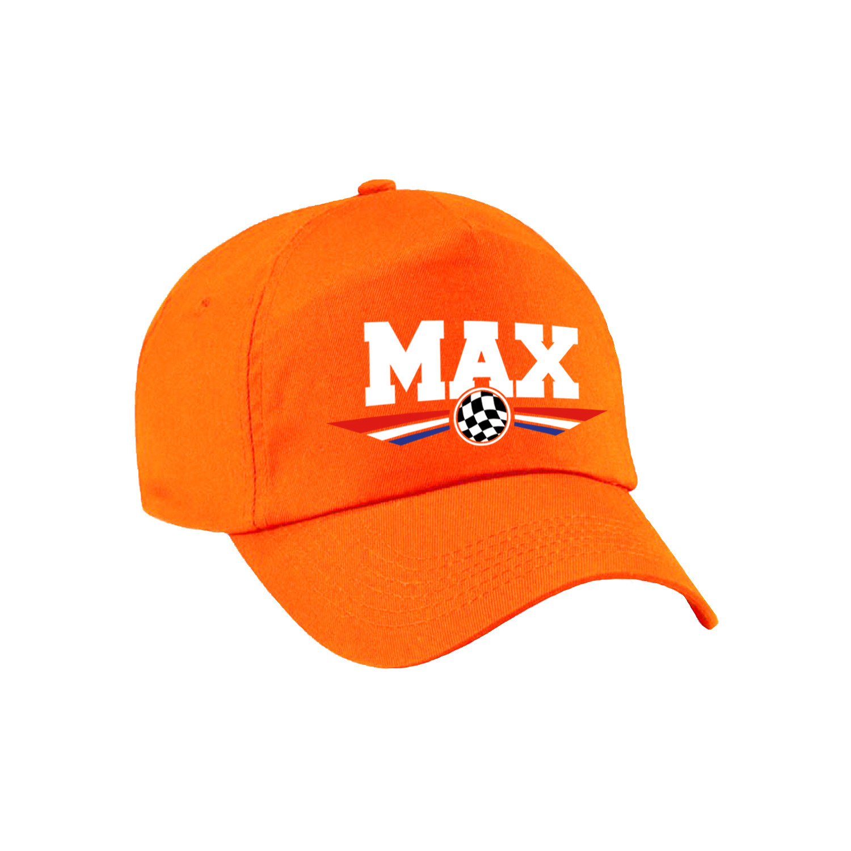 Max supporter pet met finish vlag en Nederlandse kleuren oranje voor kinderen
