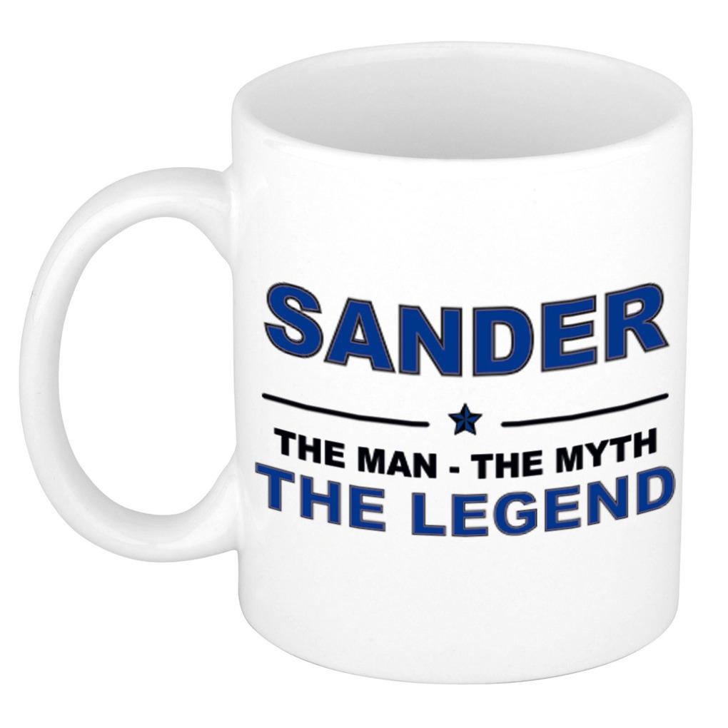 Naam cadeau mok- beker Sander The man, The myth the legend 300 ml
