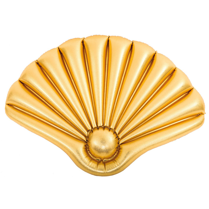 Opblaasbaar matras gouden schelp voor kinderen