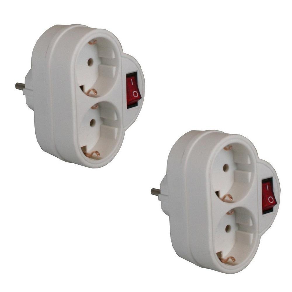 Pakket van 2x stuks witte stopcontact splitters dubbel met randaarde en schakelaar