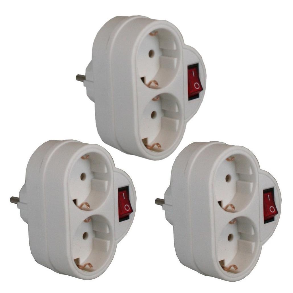 Pakket van 3x stuks witte stopcontact splitters dubbel met randaarde en schakelaar