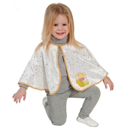 Peuter verkleed poncho engel met engelen afbeelding