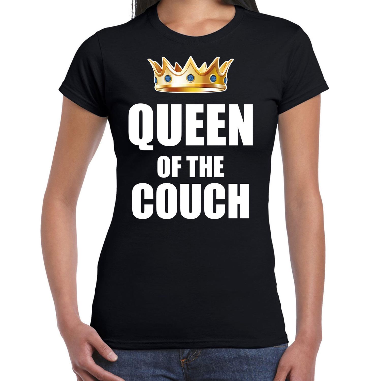 Queen of the couch t-shirts voor thuisblijvers tijdens Koningsdag zwart dames