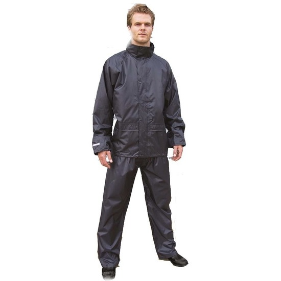 Regenkleding plus size zwarte regenbroek en regenjas voor volwassenen