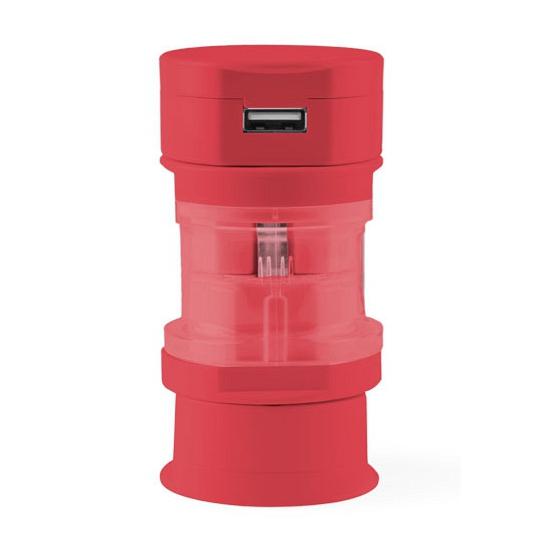 Reis USB wereldstekker rood