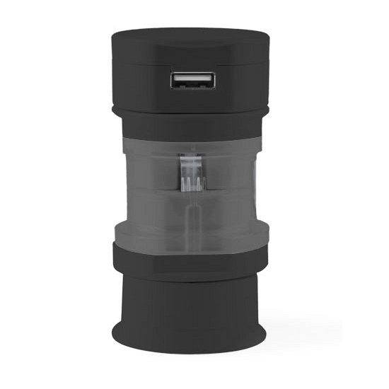 Reis USB wereldstekker zwart
